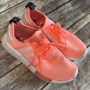 NMD neon salmon color shoes